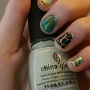 Gold,Teal, Mint nails.