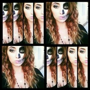 Half regular makeup and half skull face #Halloween2012