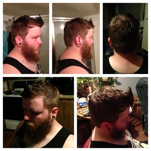 Modern take on the classic gentleman's cut. Long choppy layers on top blended down and tapered on back and sides.