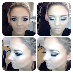 Winged neutral smoky eye with lashes and nude lip