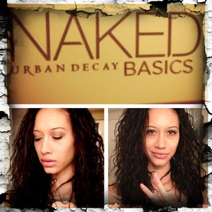 "Here I'm wearing Urban Decay's Naked Basics palette and also ""bad to the bronze"" eye shadow from Maybelline"