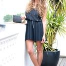 Golden Chained Detachable Black Dress