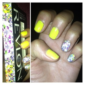 "Products:   🔹Revlon's 3D Jewel Appliqués WildFlowers -- #07 ""Hyper Floral"" 🔹Forever 21's Glow in the Dark nail polish -- Neon Yellow"