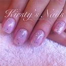 nude glitter pink gel overlay