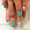 Stripes, Hearts, turquoise nails