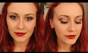 Rose Gold Eyes and Candy Apple Lips    Full Face Makeup Tutorial