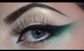 Green, black cat eye makeup