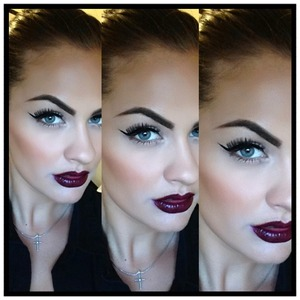 Loving the dark lip trend for this fall! I used currant lip liner from Sally's, and Ardency Inn lipgloss in dub step remix 😘 Instagram @sarahantonucci