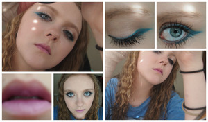 I took a lot of pictures this day because I felt the lighting was so great. The top left one is where I was playing around with the spots of light he bottom left is to display my hair color I thought it looked neat and the rest are all to show the makeup I did.
