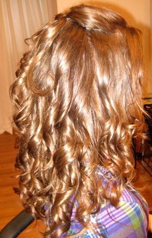Down in curls