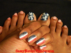 I loved this mani/pedi combo from last year so much that I had to remix it! HAPPY 4th of July! Stay safe & sassy. Be sure to watch the vid. http://youtu.be/qYdU82PP8fM