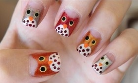 Easy Owl Nails For Fall!