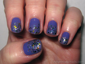 On a Trip (Wet N Wild) with Chic Confetti (e.l.f.) and Party of Five Glitters (Wet N Wild).
