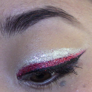 double glitter liner - tutorial is up in my videos: nhl tutorial #19 :) new jersey devils inspired.