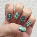 Grey and mint dots