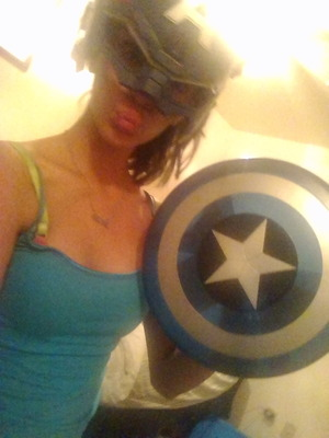 duck face in that captain America helmet! and my necklse says #bffl my BFF has the other 1