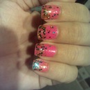 glitter nails in pink