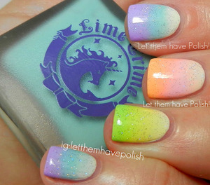 A yummy gradient mani featuring the entite Lime Crime nail polish collection