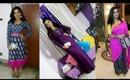 Durga puja outfits part 1..(Saree , Anarkali kurt, and maxi dress styling)