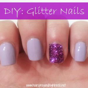 Tutorial on the blog http://www.hairsprayandhighheels.net/2013/05/diy-glitter-nails.html
