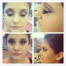 golden bronze brown smokey eye with a pop of color and glitter