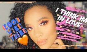 Pink & Orange Cut Crease /w Blue glitter liner | #Juvia'sPlace Masquerade Mini Palette