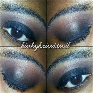 Simple black and brown smokey eye.