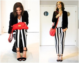 Crop pants, featuring elastic waist, twin hip pockets, black and white stripes print throughout, regular length.