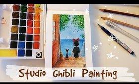 Painting Studio Ghibli Scene / 𝓡𝓮𝓵𝓪𝔁 & 𝓒𝓱𝓲𝓵𝓵 - watercolors and lofi music 🌿🎨