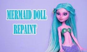 Mermaid Doll Repaint with Inset Eyes