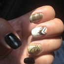 Egyptian black gold glitter white nails