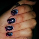 Black Crackle Over Blue and Pink Gradient