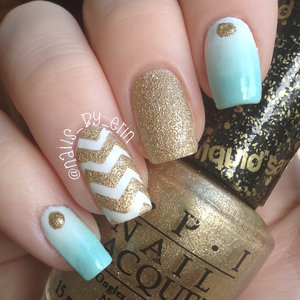 I love mint green because I think it is so bright and fun so I really love to wear it in the summer. I also love combining it with sparkles, of course… So here is a mint green and gold kind of mix and match nail design. My tutorial for these nails will be up on my YouTube channel soon.... http://youtube.com/nailsbyerin
