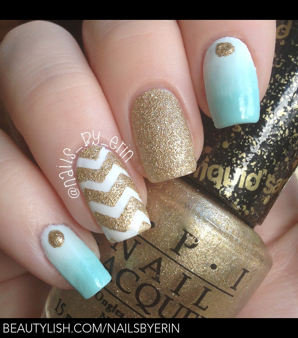 Mint And Gold Gradient And Chevron Nails Erin M S