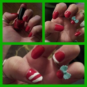 3 in 1 nails idea. red, red with bow, or add some white stripes for extra Christmas touch!