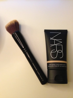 These are two of my favorite fall/winter products because the moisturizer covers and hydrates my skin beautifully and I get an amazing glow. This dense brush gives me awesome coverage.