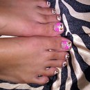 Leopard Print toes w/ acrylic pink bows with pearl accents