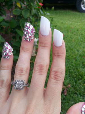 new lipstick acrylic nails /white and pink with swarovski gems