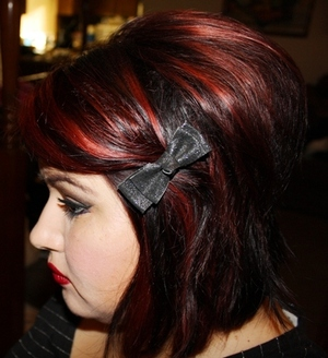 Mixed to WELLA red colors, a cream and gel color