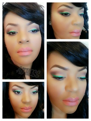 Green winged line, peachy lips.