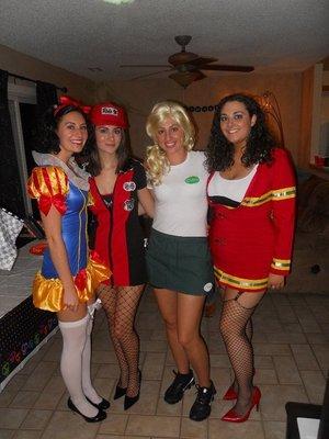 My cousin Theresa, sister Julia, cousin Amanda, and me last Halloween