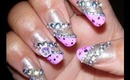 Super BLING nail design with Purple tips!