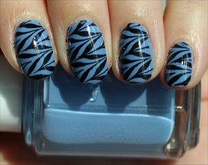 Black & Blue Konadicure See more photos here: http://www.swatchandlearn.com/nail-art-black-blue-konadicure-using-essie-lapis-of-luxury-konad-image-plate-m78/