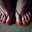 Pink + Orange/ Glitter Toes