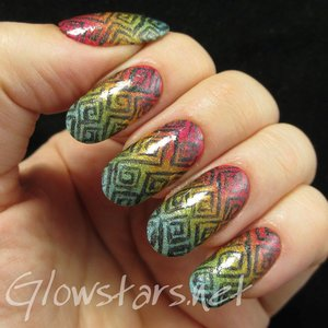 Read the blog post at http://glowstars.net/lacquer-obsession/2014/11/square-spirals-over-a-holographic-gradient/