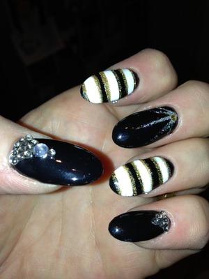 Black with rhinestones, stripes with glitter xx