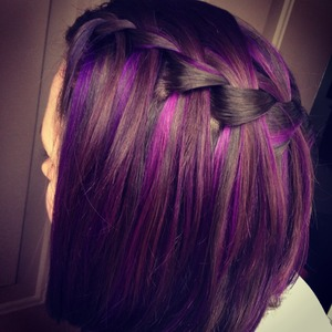 Waterfall braid with purple highlights!