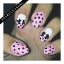 Baby pink with polka dots.
