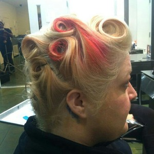 a style we did at pmts, barrel rolls, and comb out to style..shape, and pin cirls