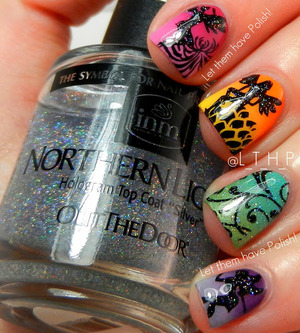 Zoya Gradients and Red Angel Stamping Plates. Sparkly accents in INM Northern Lights.